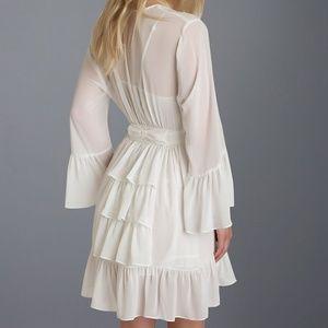 Betsey Johnson White Chiffon Bridal Ruffle Robe